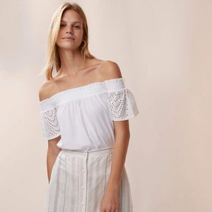 New! Off the shoulder white eyelet blouse top